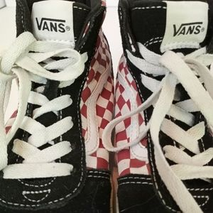 Vans Sk8-Hi Red Checkered Low Tops Youth SZ 5